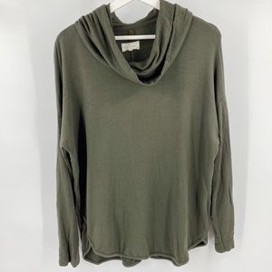 Lou & Grey cowl neck army green pullover